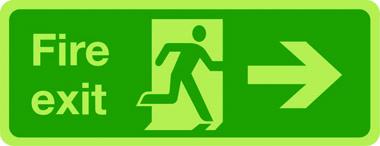 Fire exit arrow right photoluminescent sign