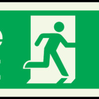 Fire exit arrow up photoluminescent sign
