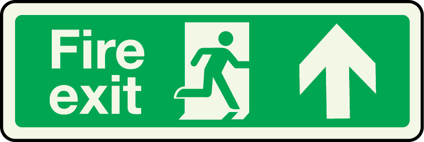 Fire exit sign with arrow pointing up