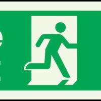Fire exit arrow down photoluminescent sign