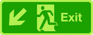 Exit sign arrow down left photoluminescent sign
