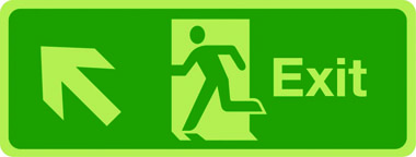 Photoluminescent exit sign - arrow up left