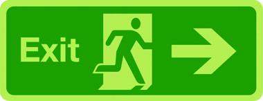 Photoluminescent exit sign - arrow right