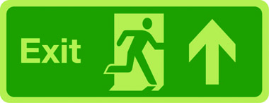 Photoluminescent exit sign - arrow up