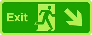 Exit sign arrow down right photoluminescent sign