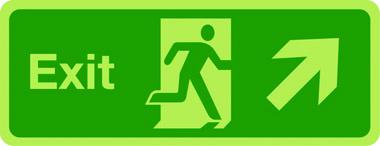 Photoluminescent exit sign - arrow up right