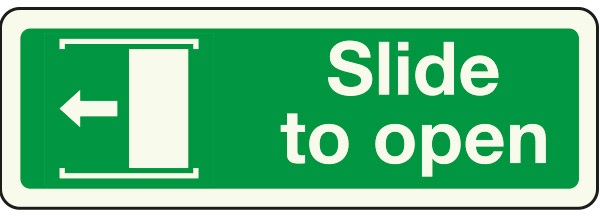 Slide to open left sign