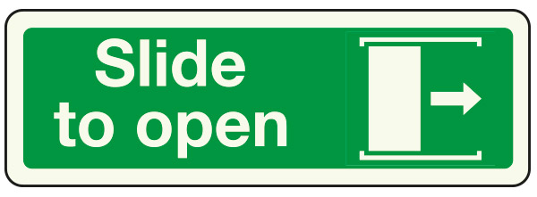 Slide right to open sign