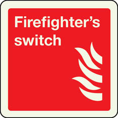 Firefighters switch photoluminescent sign