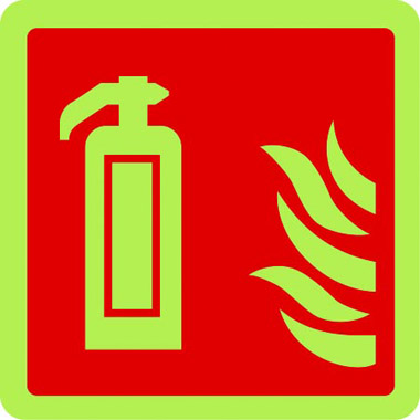 Fire extinguisher symbol in photoluminescent sign
