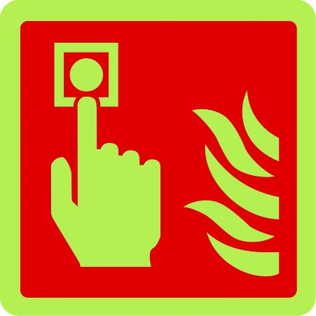 Fire alarm point symbol photoluminescent sign