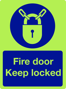 Fire Safety Fire Door Keep Locked With Symbol In