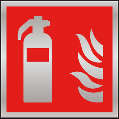 Fire Safety Fire Extinguisher Symbol Bushed Stainless Steel Sign