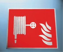 6666 Fire hose symbol 3mm mirror brass effect dibond