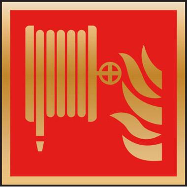 Fire Safety Fire Hose Symbol 3mm Mirror Brass Effect Dibond