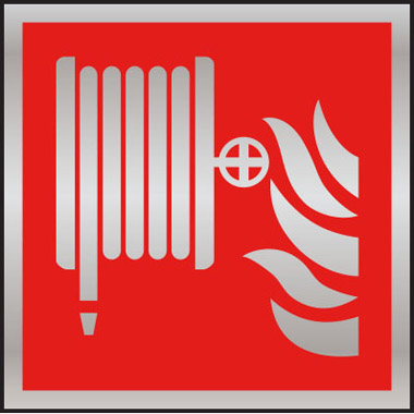 Fire Safety Fire Hose Symbol Brushed Stainless Steel Sign Stocksigns