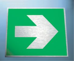Directional fire arrow (supplementray sign) 3mm mirror brass effect dibond
