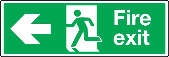 Extra large fire exit arrow left sign