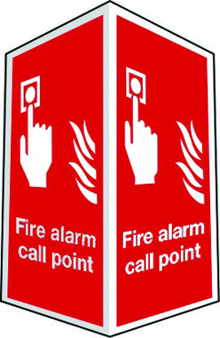 Projecting two-sided fire alarm call point sign