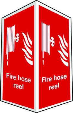 Projecting two-sided fire hose reel sign
