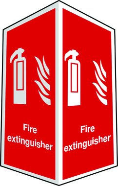 Projecting two-side fire extinguisher sign