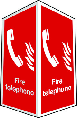 Projecting two-sided fire telephone sign