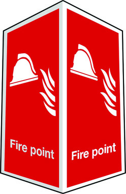 Projecting two-sided fire point sign