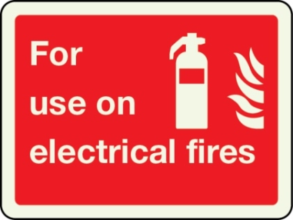 For use on electrical fires sign
