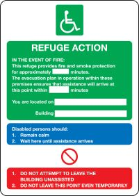 Fire action notice for disabled people refuge action sign