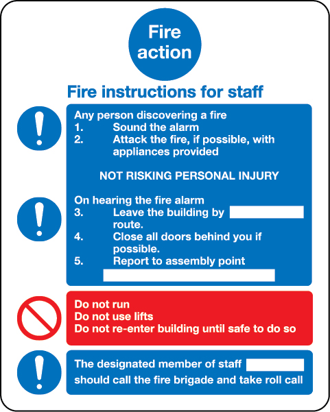 Instructions for staff sign