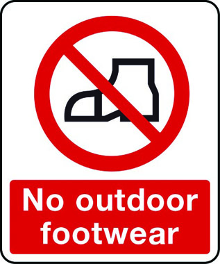 No outdoor footwear sign | Stocksigns