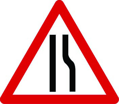 Road narrows on right temporary traffic sign