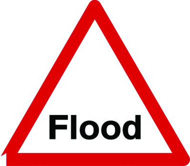 Flood temporary warning sign