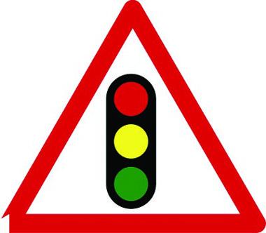 Temporary traffic lights sign