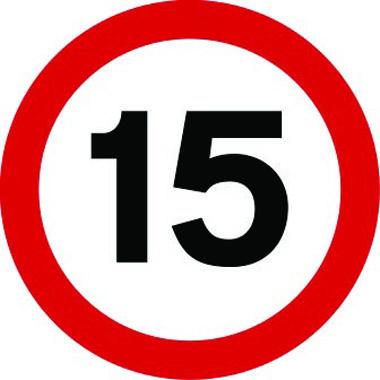 15mph traffic sign