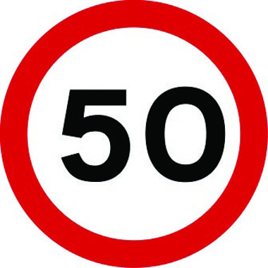 50mph traffic sign