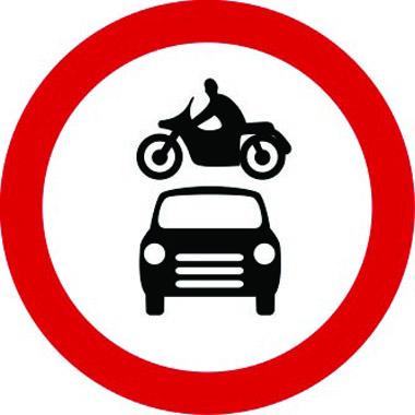 Vehicles prohibited sign