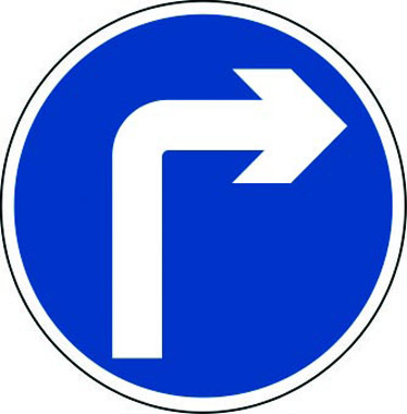 Right turn only traffic sign