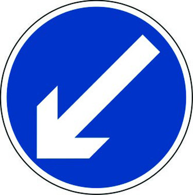 Arrow diagonal left traffic sign