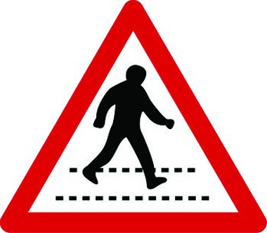 Zebra crossing ahead triangle sign