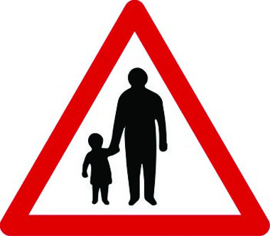 Pedestrians in road traffic sign