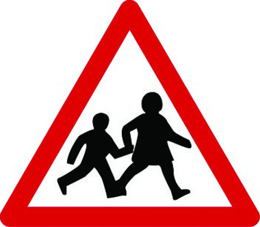 Children going to and from school triangle sign