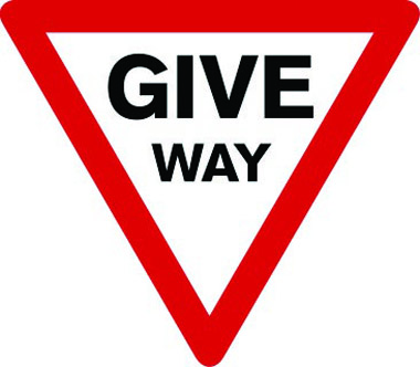 Give way triangle sign