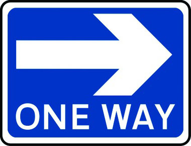 One way arrow right traffic sign