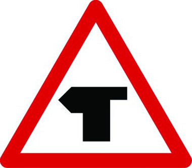 T-junction ahead main road left traffic sign