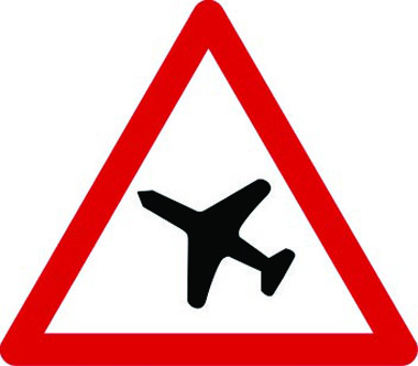 Low-flying aircraft triangle sign