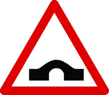 Hump bridge ahead sign