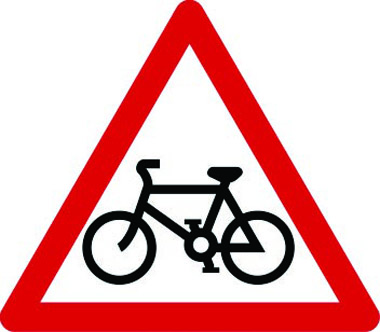 Cycle route ahead triangle sign