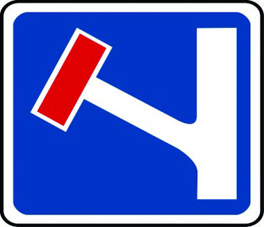 No through-road left traffic sign
