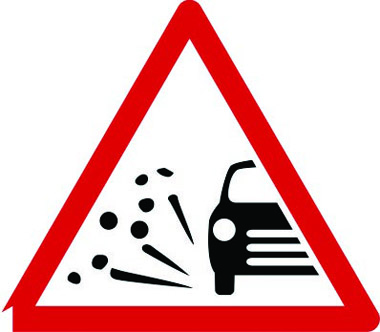 Loose chippings on road warning sign